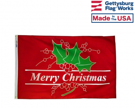 Red Holly Merry Christmas Flag