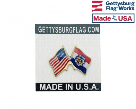 Missouri State Flag Lapel Pin (Double Waving Flag w/USA)
