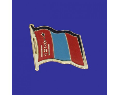 Mongolia Lapel Pin (Single Waving Flag)
