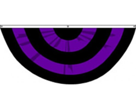 Mourning Pleated Fan, 6', Nylon 5 Stripes