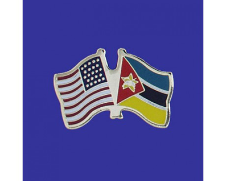 Mozambique Lapel Pin (Double Waving Flag w/USA)