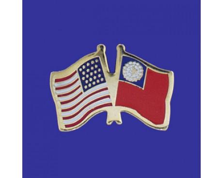 Myanmar Lapel Pin (Double Waving Flag w/USA)