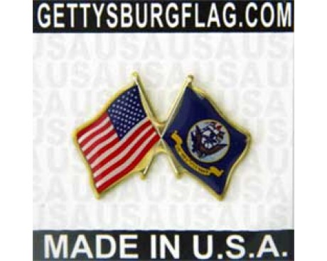 Navy Flag Lapel Pin (Double Waving Flag w/USA)