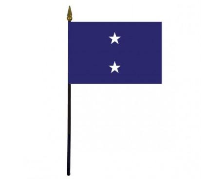 "Navy Rear Admiral Stick Flag - 4x6"""