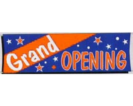 Grand Opening Banner - Orange, White & Blue - 3x10'