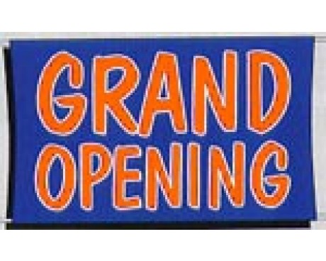 Grand Opening Banner - Orange, White & Blue