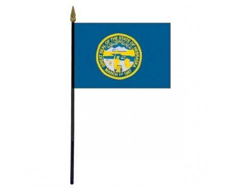 Nebraska State Stick Flag - 4x6""