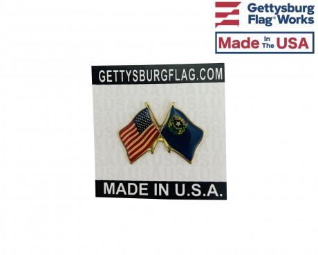 Nevada State Flag Lapel Pin (Double Waving Flag w/USA)