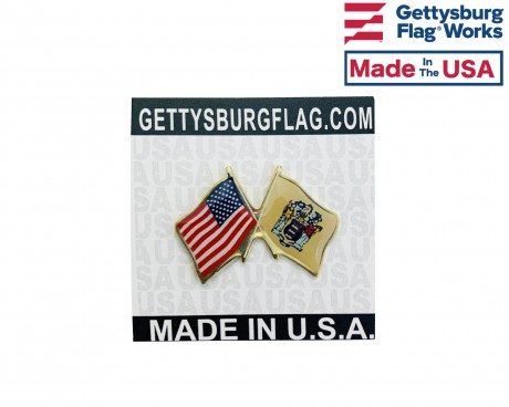 New Jersey State Flag Lapel Pin (Double Waving Flag w/USA)