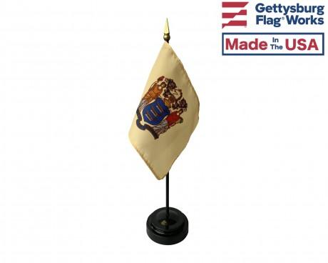 "New Jersey State Stick Flag - 4x6"""