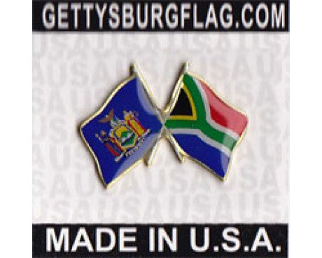 South Africa & New York State Lapel Pin (Double Waving Flags)