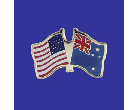 New Zealand Lapel Pin (Double Waving Flag w/USA)