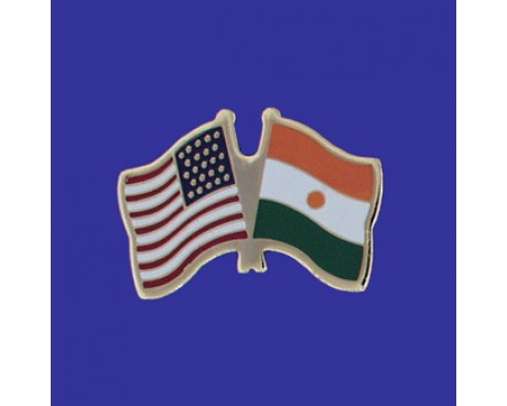 Niger Lapel Pin (Double Waving Flag w/USA)