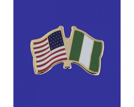 Nigeria Lapel Pin (Double Waving Flag w/USA)