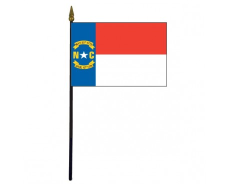 North Carolina State Stick Flag - 4x6""