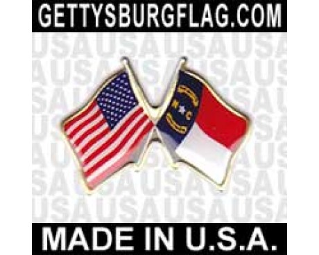 North Carolina State Flag Lapel Pin (with US Flag)