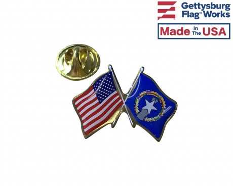 North Marianas Lapel Pin (Double Waving Flag w/USA)