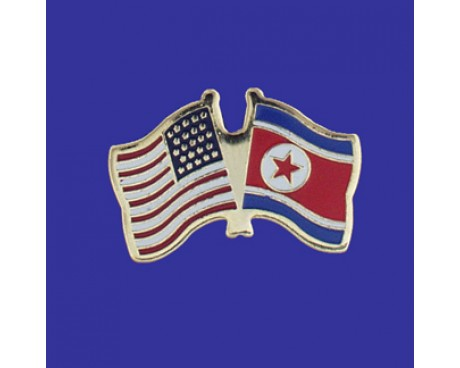 North Korea Lapel Pin (Double Waving Flag w/USA)