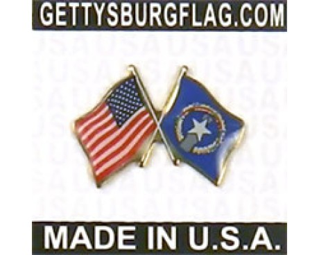 North Marianas Lapel Pin (Double Waving Flag w/USA)