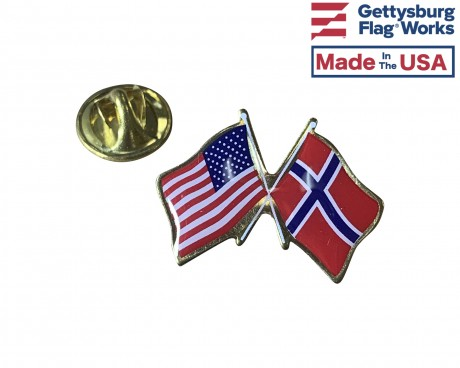 Norway Lapel Pin (Double Waving Flag w/USA)