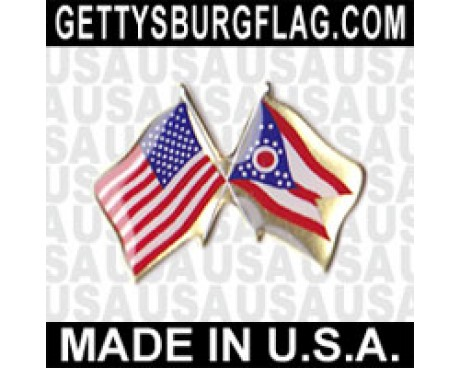 Ohio State Flag Lapel Pin (with US Flag)