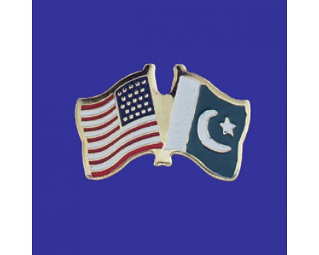 Pakistan Lapel Pin (Double Waving Flag w/USA)