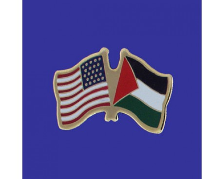 Palestine Lapel Pin (Double Waving Flag w/USA)