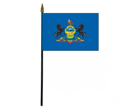 Pennsylvania State Stick Flag - 4x6""