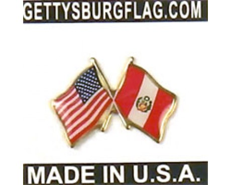 Peru (Seal Design) Lapel Pin (with US Flag)