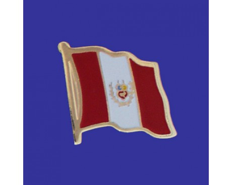 Peru (seal design) Lapel Pin (Single Waving Flag)