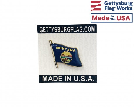 Montana State Flag Lapel Pin (Single Waving Flag)