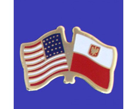 Poland Ancestral Lapel Pin (Double Waving Flag w/USA)