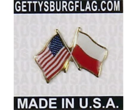 Poland (no eagle design) Lapel Pin (Double Waving Flag w/USA)