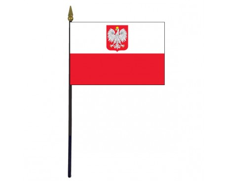 Polish Ancestral Stick Flag (with Eagle)