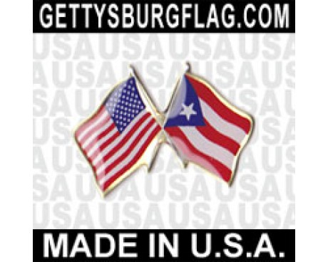 Puerto Rico Lapel Pin (Double Waving Flag w/USA)