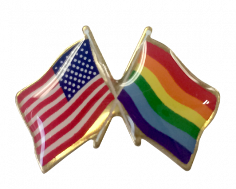 Pride Lapel Pin (Double Waving Flag w/USA)