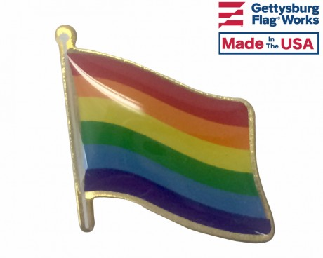 Waving Rainbow Pride Lapel Pin (Single Waving Flag)