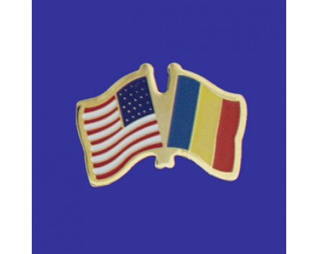Romania Lapel Pin (Double Waving Flag w/USA)