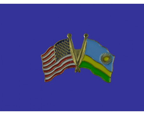 Rwanda Lapel Pin (Double Waving Flag w/USA)