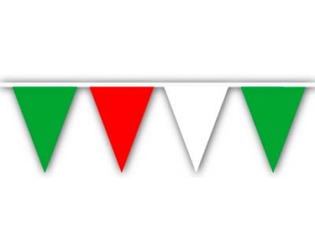 "Red/White/Green 9x12"" Triangle Pennants - 120' - 4 Mil"