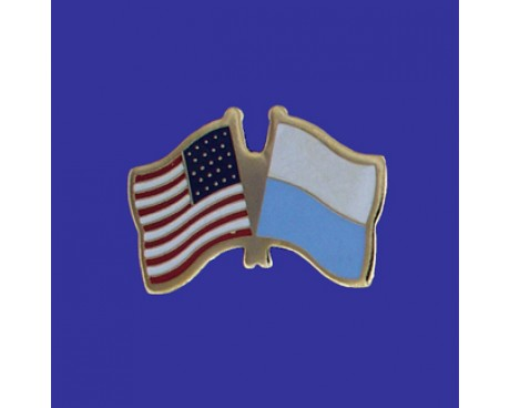 San Marino Lapel Pin (Double Waving Flag w/USA)