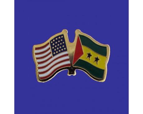 Sao Tome & Principe Lapel Pin (Double Waving Flag w/USA)