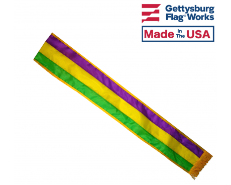 Mardi Gras Tri-Color Parade Sash, 6'