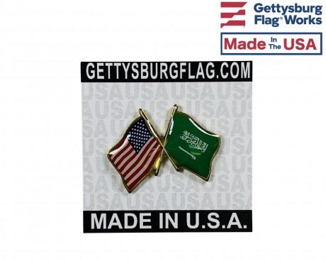 Saudi Arabia Lapel Pin (Double Waving Flag w/USA)