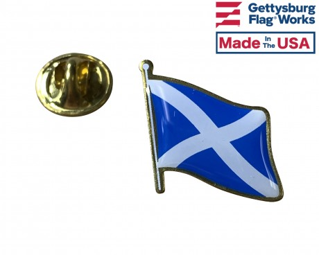 Scotland Cross Lapel Pin (Single Waving Flag)