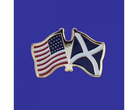 Scotland Cross Lapel Pin (Double Waving Flag w/USA)