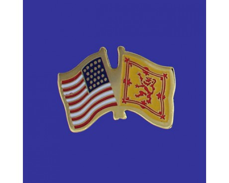 Scotland Lion Lapel Pin (Double Waving Flag w/USA)