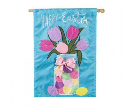 Easter Mason Jar House Applique Flag