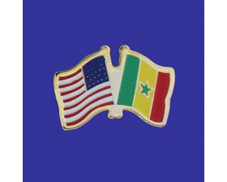 Senegal Lapel Pin (Double Waving Flag w/USA)