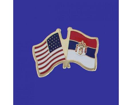 Serbia Lapel Pin (Double Waving Flag w/USA)